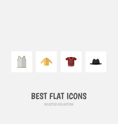 Flat icon dress set of panama singlet t-shirt vector