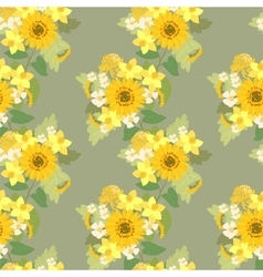 Floral sunflower narcissus strawberry flowers vector image