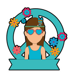 hippie woman cartoon vector image
