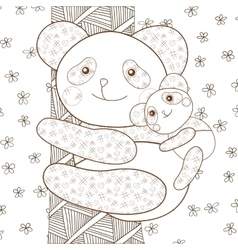 Kid coloring book page panda with baby on tree vector