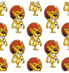 Lion with a cheesy toothy grin seamless pattern vector image vector image