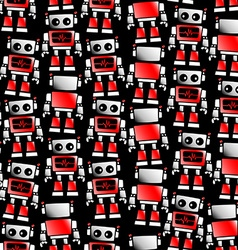 Little red and white robot seamless pattern vector