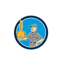 Locksmith balancing key palm circle cartoon vector