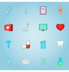 Medicine icons set cartoon style vector