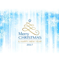 Merry Christmas blue white snowflake vector image