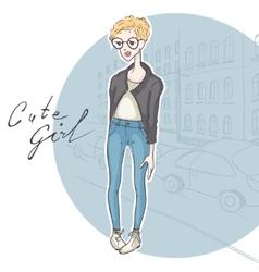 Modest girl hipster style vector
