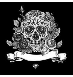 Monochrome Skull diamond and Flowers Card vector image vector image