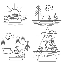 Nature line icon landscapes vector image vector image