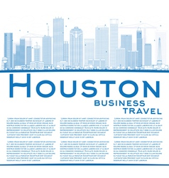 Outline houston skyline with blue buildings vector
