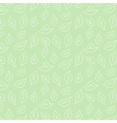 Pattern with white leaves on green background vector image
