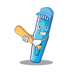Playing baseball trimmer character cartoon style vector