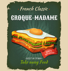 Retro fast food french sandwich poster vector