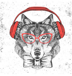 Retro hipster animal wolf with headphones vector