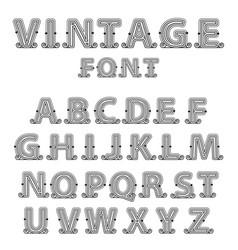 Retro mono line decorative font vector