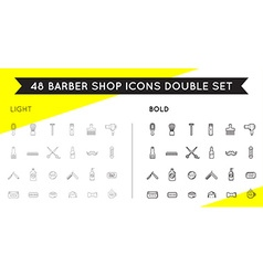 Set of thin and bold barber shop elements vector