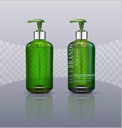 set realistic green transparent bottles with vector image