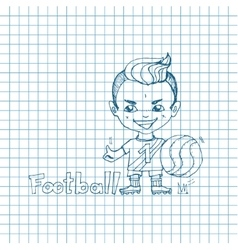 Sketch boy football-player vector