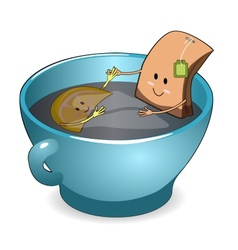tea bag in a cup vector image vector image