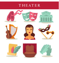 theater flat poster of symbolic equipments on vector image vector image