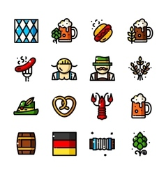 Thin line Oktoberfest icons vector image vector image