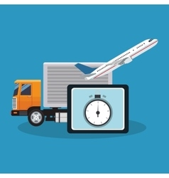 Truck airplane and tablet of delivery concept vector