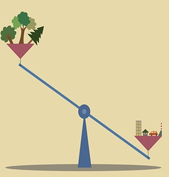 Unbalance scale between nature and construction vector