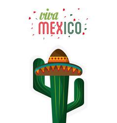 viva mexico cactus hat festive vector image