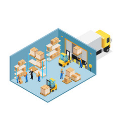 warehouse inside isometric composition vector image vector image