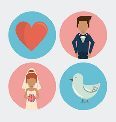 white background with wedding icons on round vector image vector image