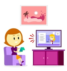 Woman watching a cooking show vector