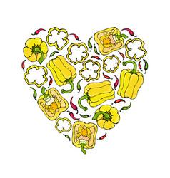 Yellow bell peper heart shape wreath half of vector