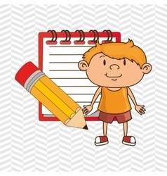 kid with notebook and pencil isolated icon design vector image