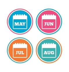 Calendar May June July and August vector image