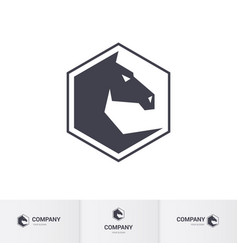 Stylized dark horse head for mascot logo template vector