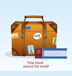 Vintage leather suitcase with travel sticker vector