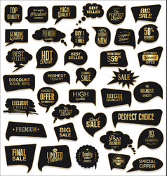 gold and black sale speech bubbles on white vector image