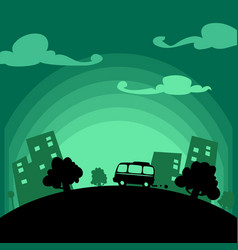 cartoon flat town travel car silhouette vector image