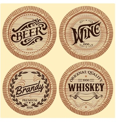 Set of template wooden barrels for alcoholic bever vector