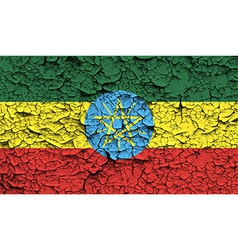 Flag of ethiopia with old texture vector