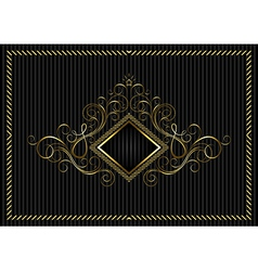 Golden square frame with calligraphic design vector image