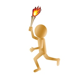 A running golden 3d man carrying a torch isolated vector