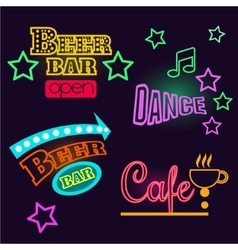 Neon signs of cafe beer and bar isolated vector