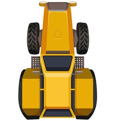 Yellow tractor in large scale vector
