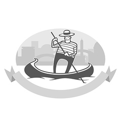 Gondola with gondolier vector
