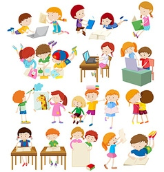 Children doing activities at school vector