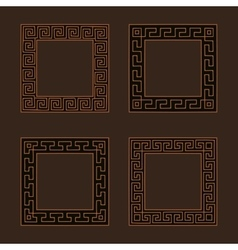 Set of four square meander frames vector