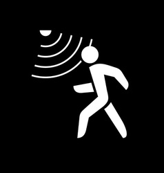 Walking man silhouette with motion sensor white on vector