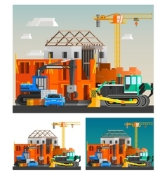 Construction and machines compositions set vector
