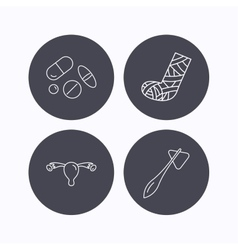 Hammer broken leg and medical pills icons vector