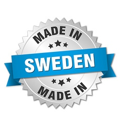 Made in sweden silver badge with blue ribbon vector